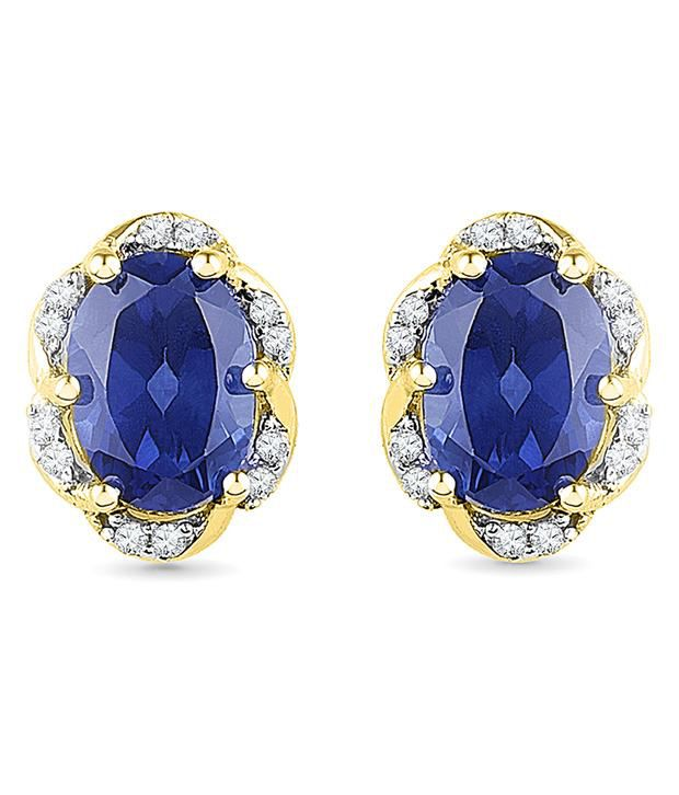 Radiant Bay 14Kt Yellow Gold EGL Certified Blue Sapphire Studs