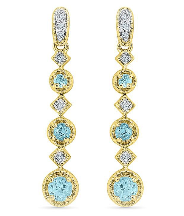 Radiant Bay 14Kt Yellow Gold EGL Certified Aquamarine Drops