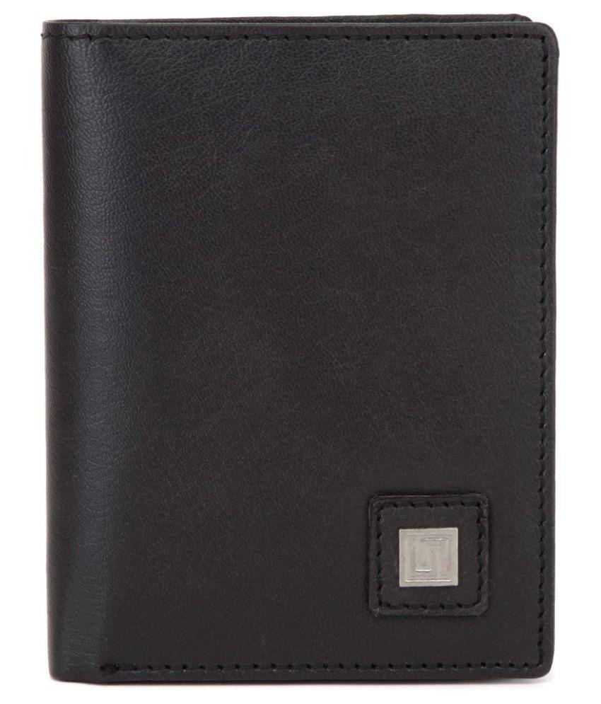 U+N Black Leather Regular Wallet For Men