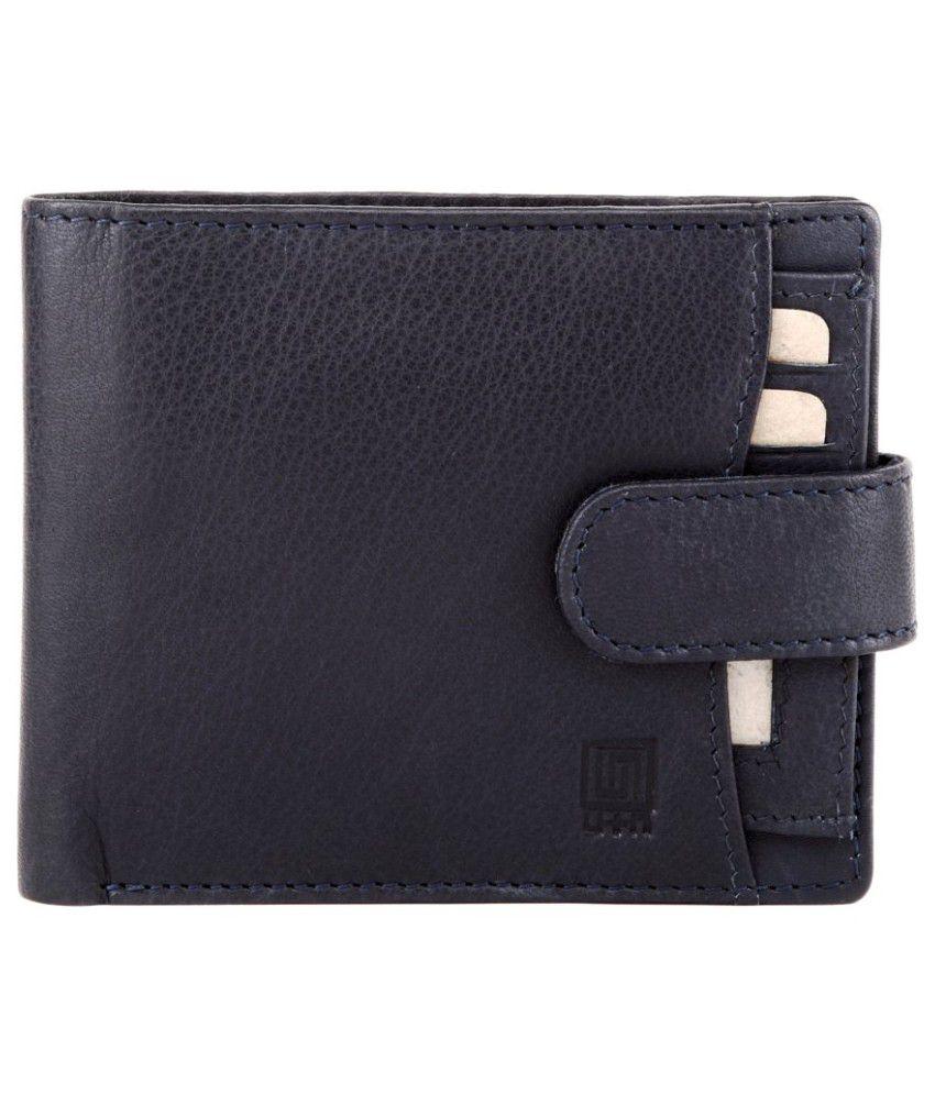 U+N Blue Leather Regular Wallet For Men