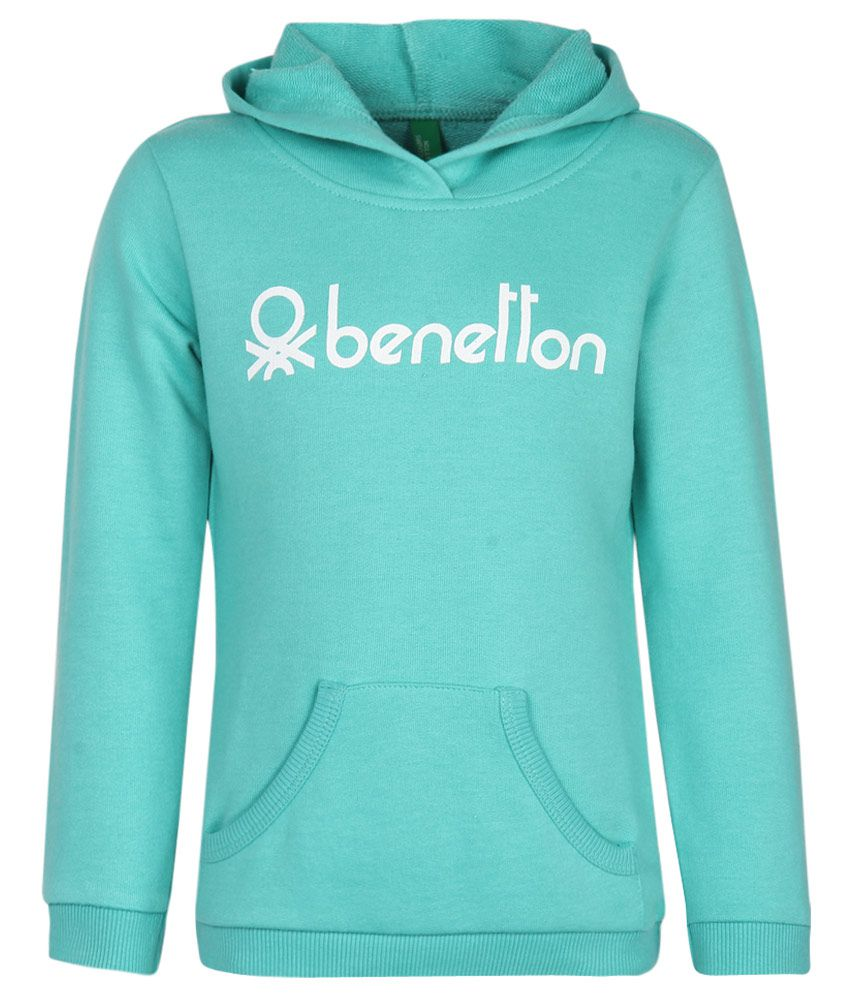 United Colors of Benetton Blue Printed Hooded Sweatshirt