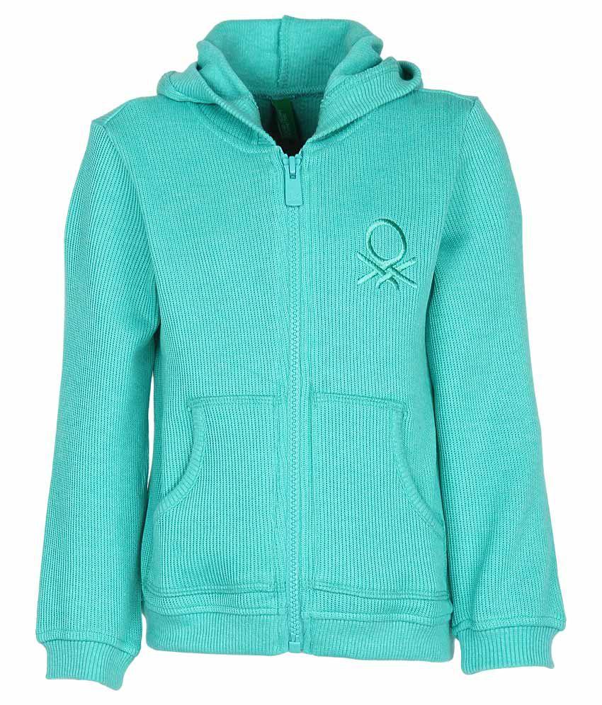 United Colors of Benetton Green Zippered Sweatshirt