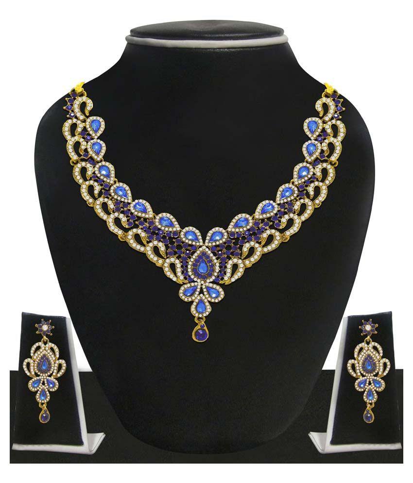 Zaveri Pearls Blue Designer Necklace Set