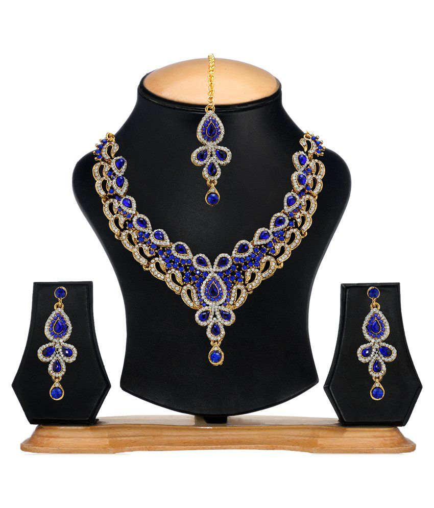 Zaveri Pearls Blue Alloy Designer Necklace Set