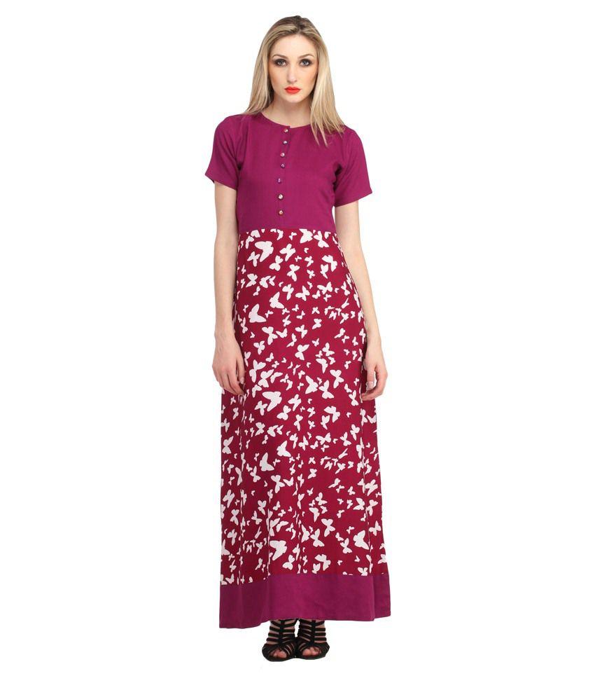 Cottinfab Pink Rayon Maxi Dress
