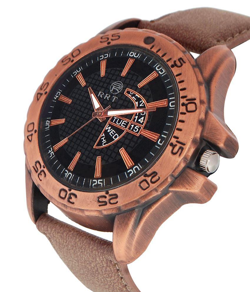 RRTC Brown Leather Wrist Watch For Men - Buy RRTC Brown ...