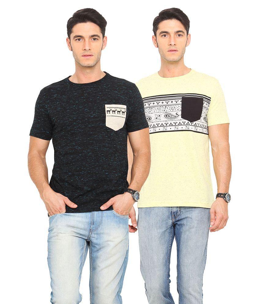 Smokestack Black & Yellow Cotton Blend T-Shirt Pack Of 2