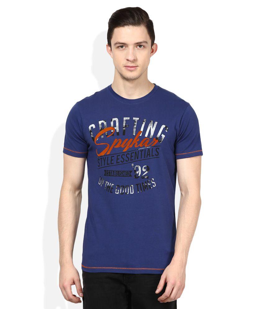 Spykar Blue Round Neck Half Sleeves Printed T-Shirt