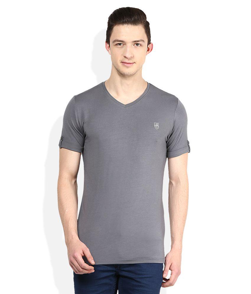 Spykar Grey V-Neck Half Sleeves Solids T-Shirt