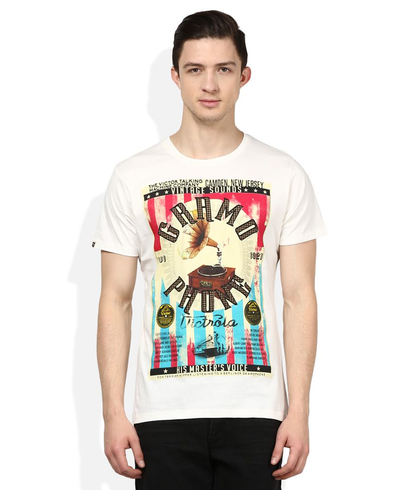 Spykar Off-White Round Neck Half Sleeves Printed T-Shirt