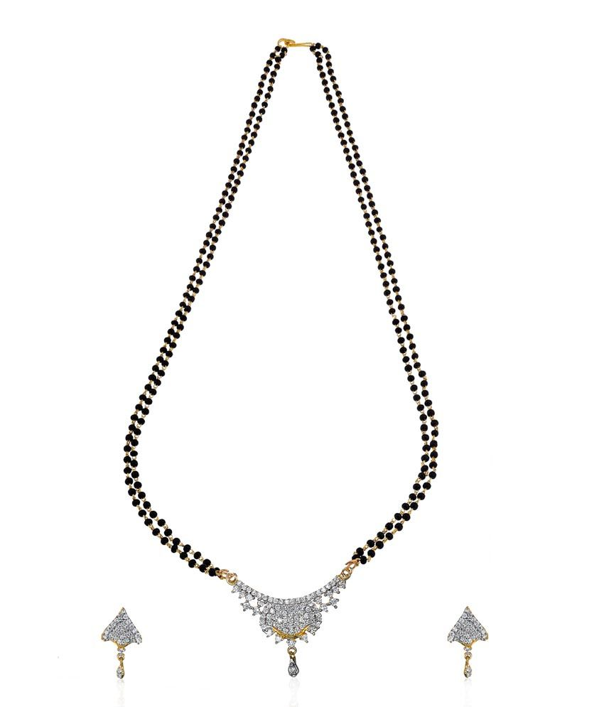 Zaveri Pearls Gold and Silver Traditional American Diamond Mangalsutra Set