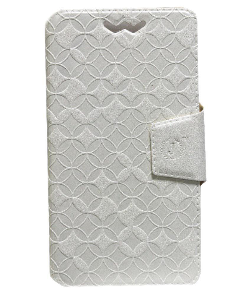 Jo Jo Synthetic Flip Cover For Datawind Pocketsurfer5 - White
