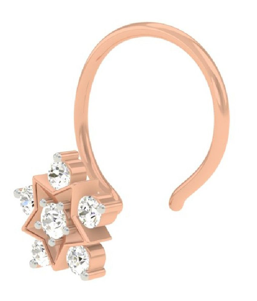 TBZ - The Original 18KT Rose Gold Daily Wear Star shaped Wire Nose ...
