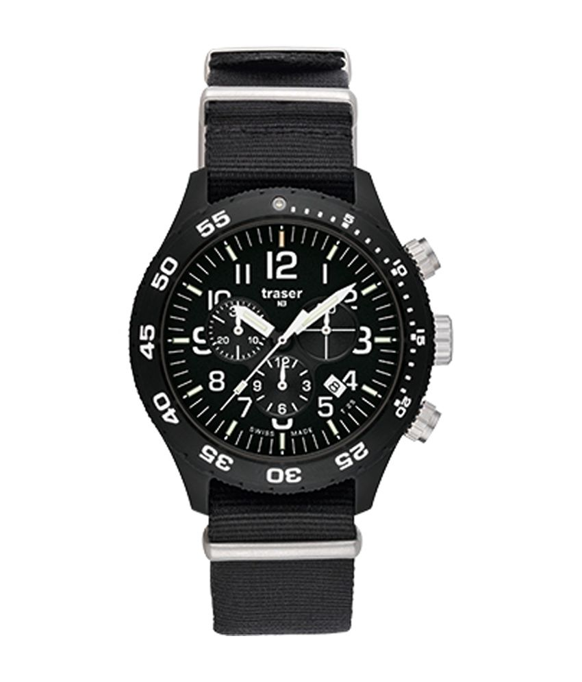 Traser Professional Black Dial Analog Chronograph Watch
