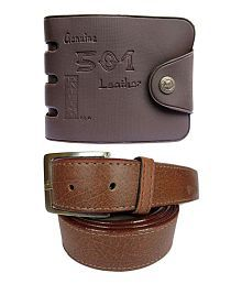 Apki Needs Brown Combo Of Wallet & Belt