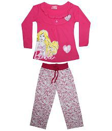 Barbie Pink & White Full Sleeve Night Suit Set
