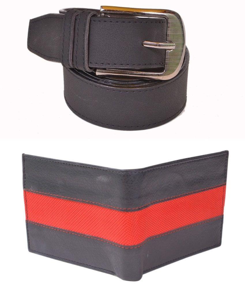 Daller Black Casual Single Belt For Men With Wallet