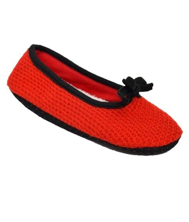 Gen Red Woolen Footies For Women