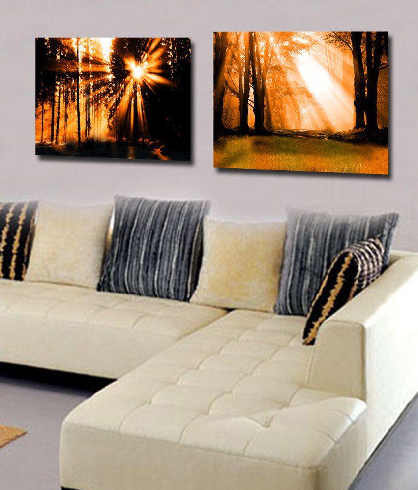 RythmArtz 2 Panel Sparkle Texture Wall Painting on 12mm PVC Board