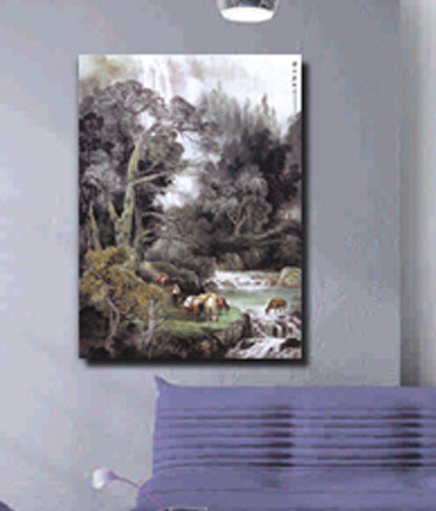 RythmArtz Canvas Texture Wall Painting on 12mm PVC Board