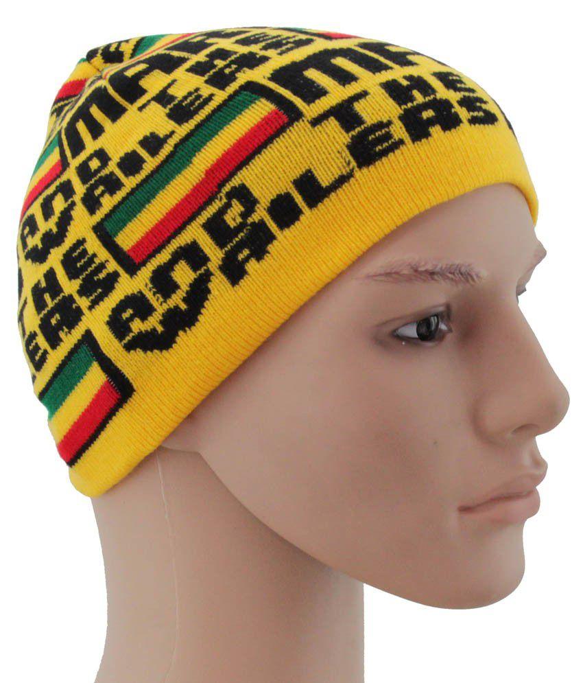 Sushito Yellow Woollen Skull Cap
