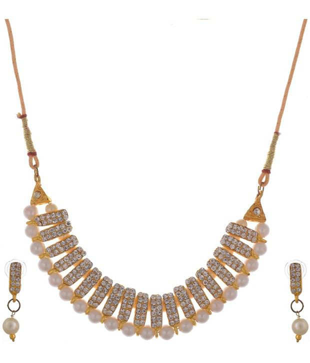 Swar Golden Alloy Necklace Set