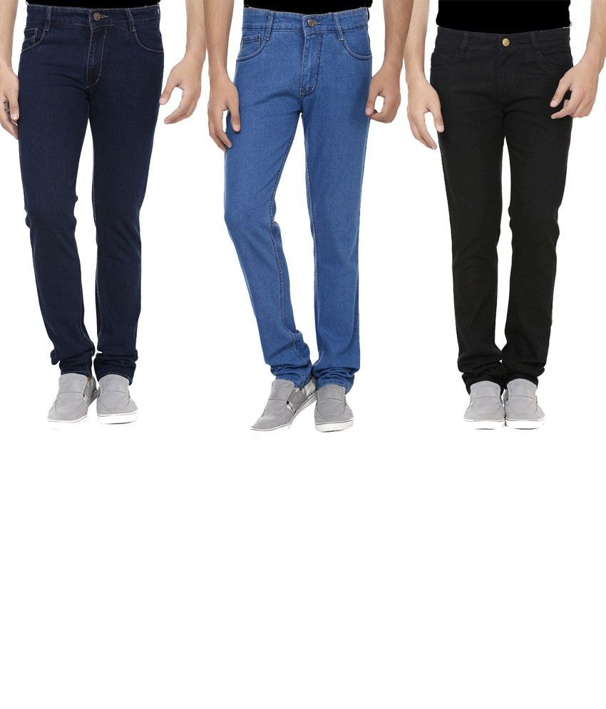 Ansh Fashion Wear Multicolour Regular Fit Jeans Pack Of 3