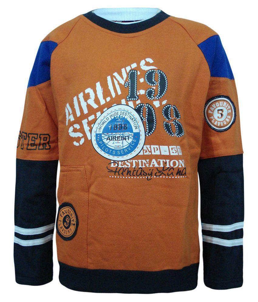 Kothari Peach Puff & Black Sweatshirt For Boys