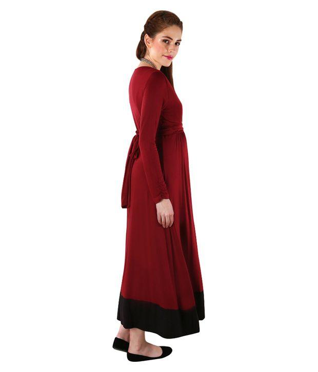 22ba1427794 ... Momzjoy Elegant Wine Front Wrap Maternity Dress ...