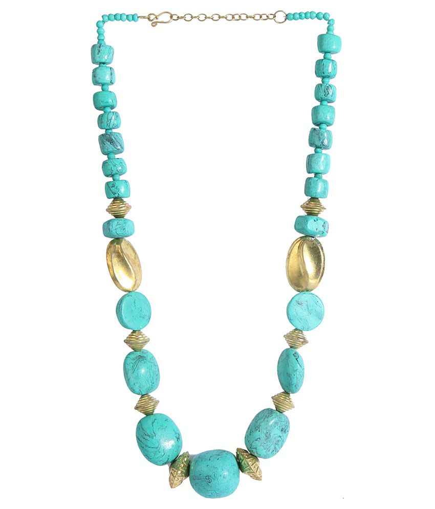 Diva Blue And Gold Casual Hit Necklace