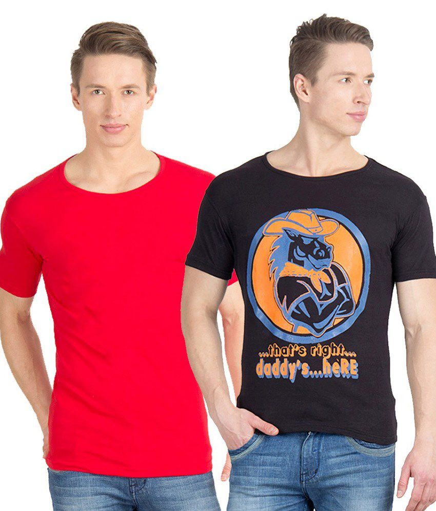 Incynk Black and Red Cotton T-Shirt - Pack of 2