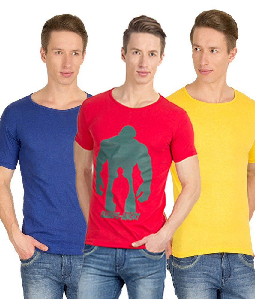 Incynk Multicolour Cotton T-Shirt - Pack of 3