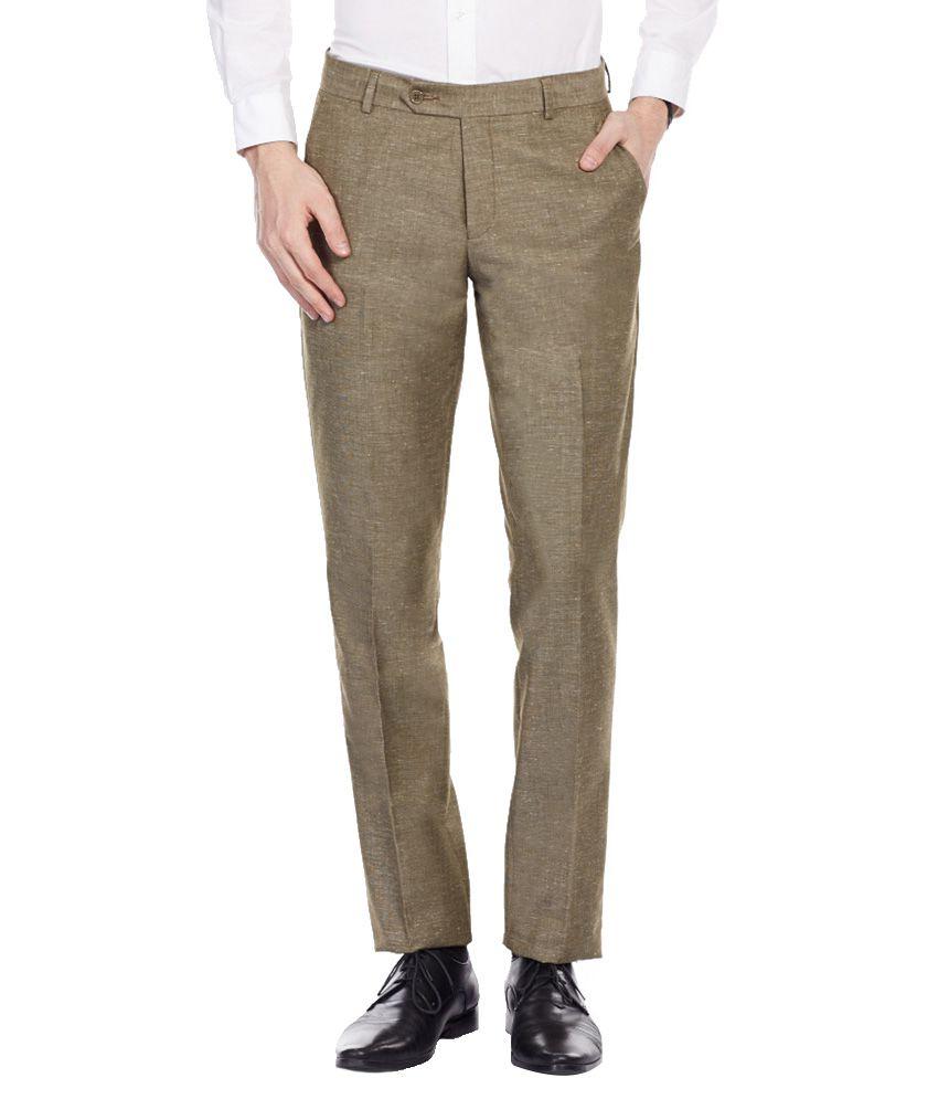 Librazo By Mafatlal Beige Slim Fit Formal Flat Trousers