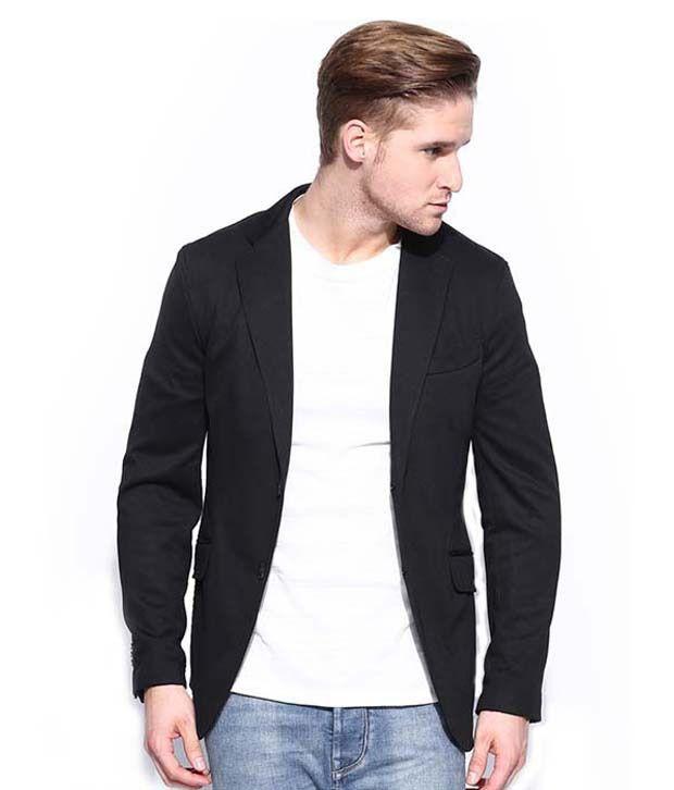 Menjestic Black Cotton Blend Blazer