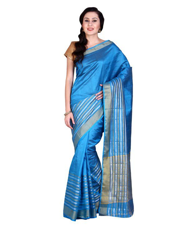 Parchayee Blue & Golden Tussar Silk Saree with Blouse Piece