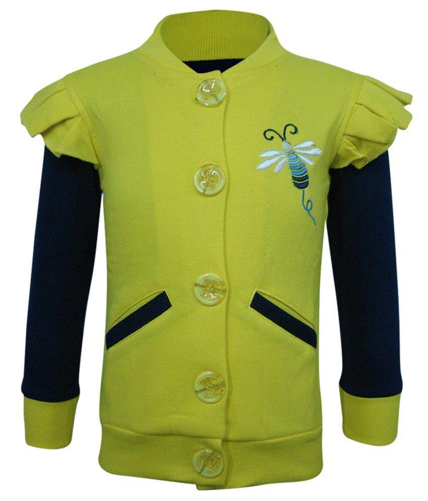 Kothari Yellow & Blue Sweatshirt For Girls