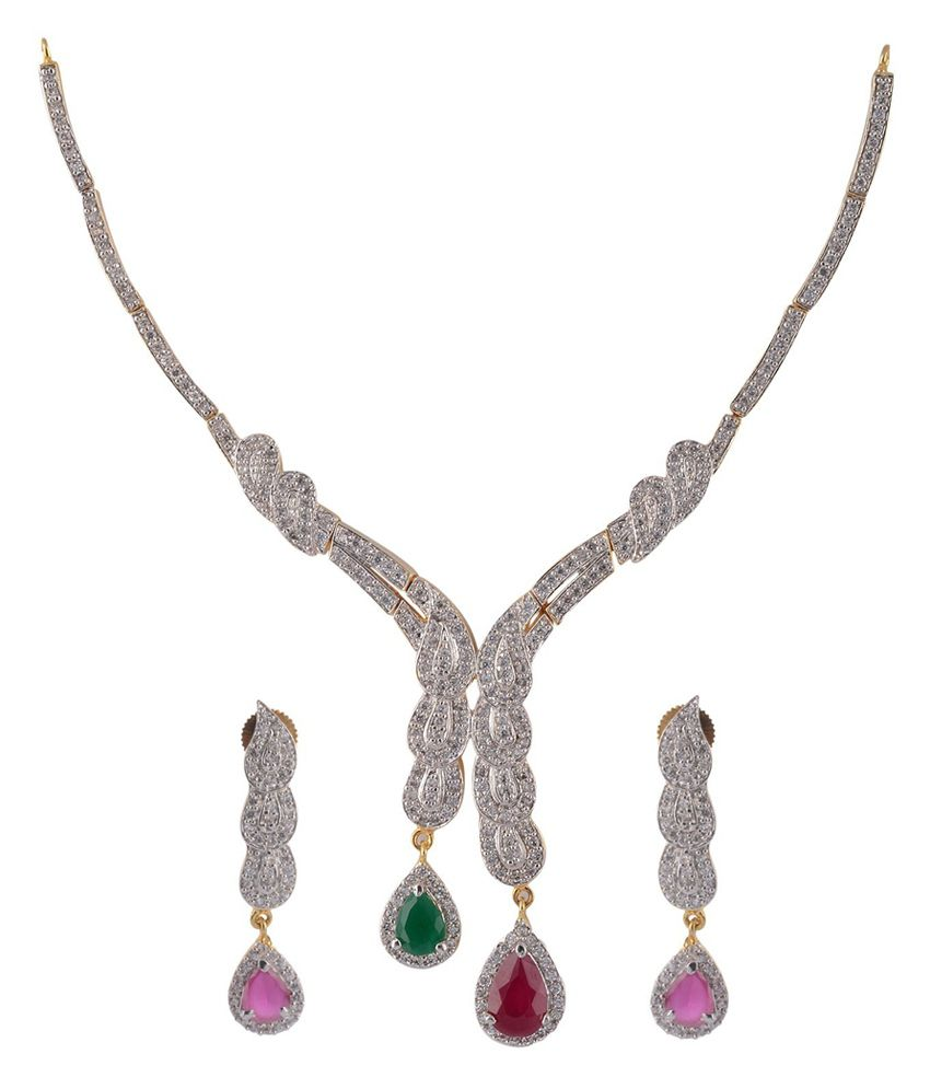 Pearl Bliss Pink American Diamond Necklace Set
