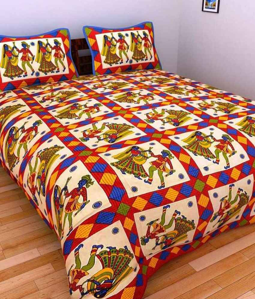 21a5349fb54 UniqChoice Rajasthani 100% Cotton Jaipuri Floral King Size 1 Double Bedsheet  With 2 Pillow Cover - Buy UniqChoice Rajasthani 100% Cotton Jaipuri Floral  King ...