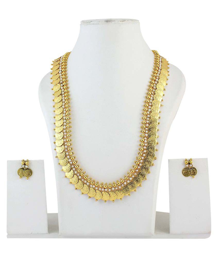 YouBella Long Traditional Pearl Maharani Temple Coin Necklace Set with Earrings for Women