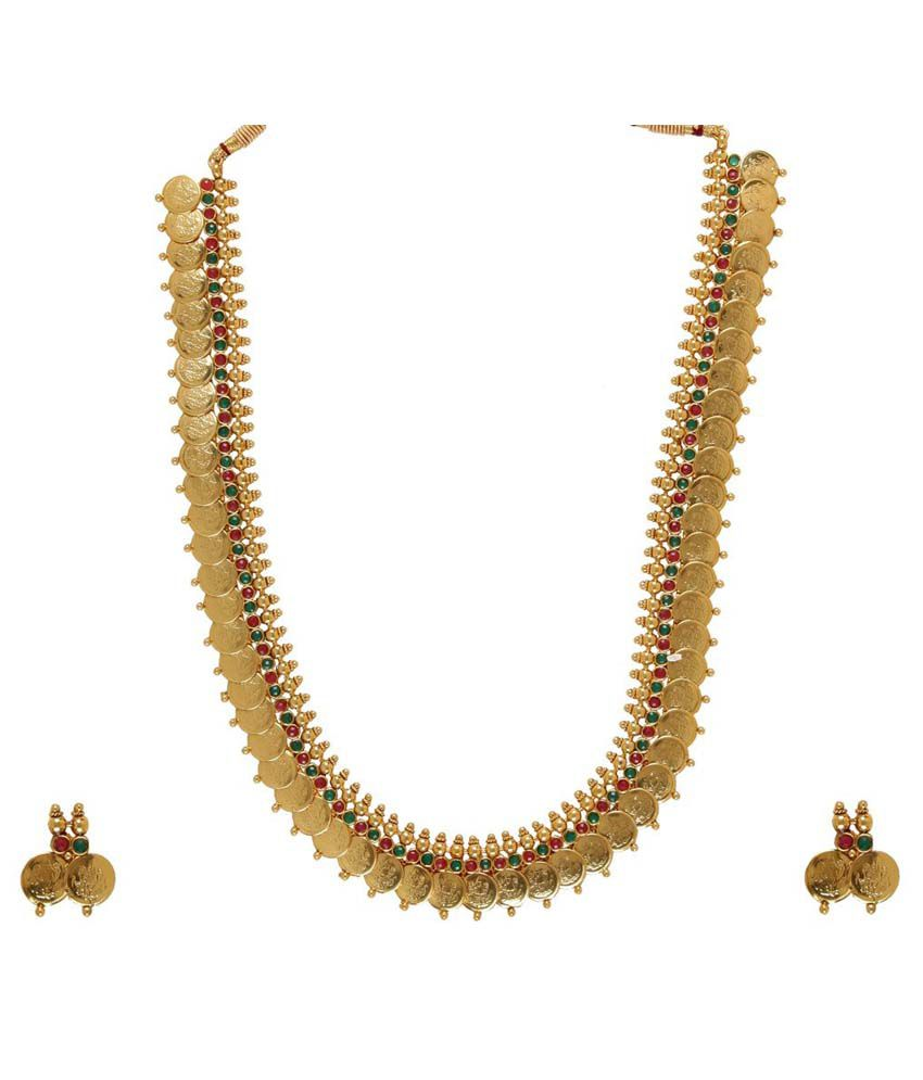 YouBella Long Traditional Red and Green Maharani Temple Coin Necklace Set with Earrings