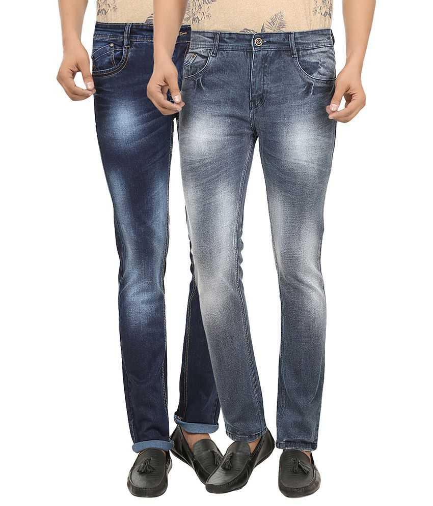 99 Degrees Blue & Grey Slim Fit Jeans Pack Of 2