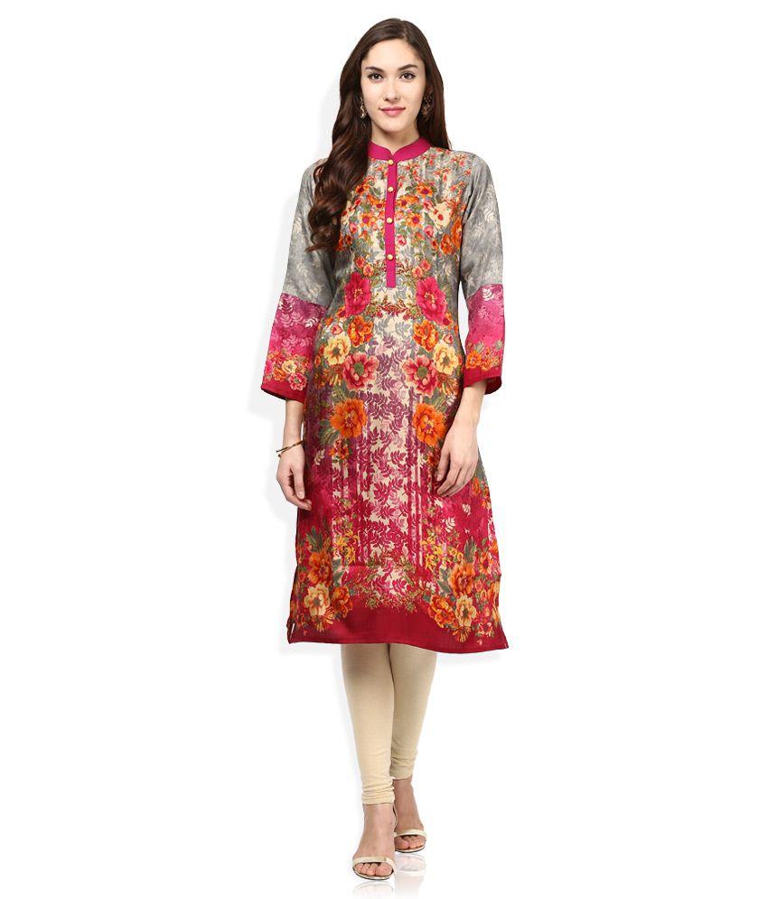 Shree Multicolored Silk Printed Kurta