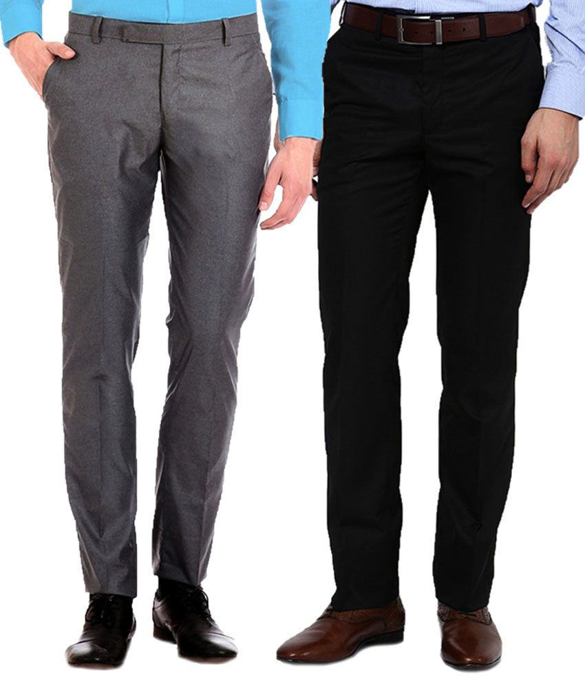 AD And AV Combo Of Grey And Black Regular Fit Formal Flat Trousers