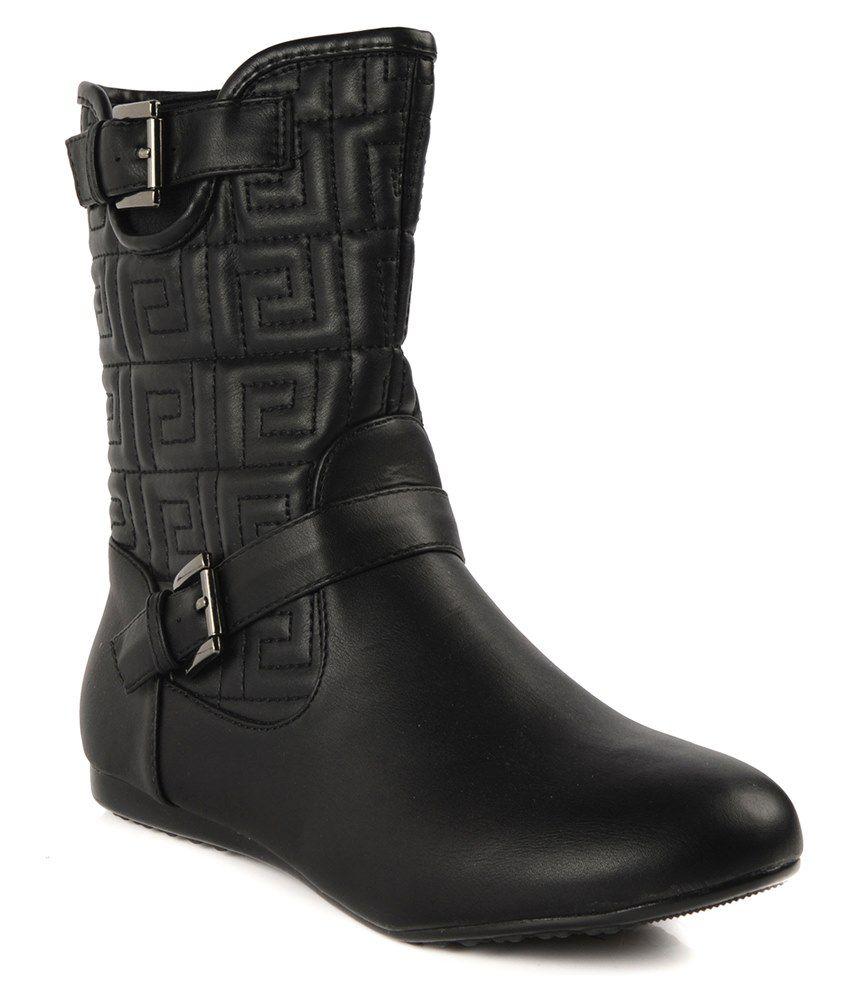 Flat N Heels Black Slouch Boots