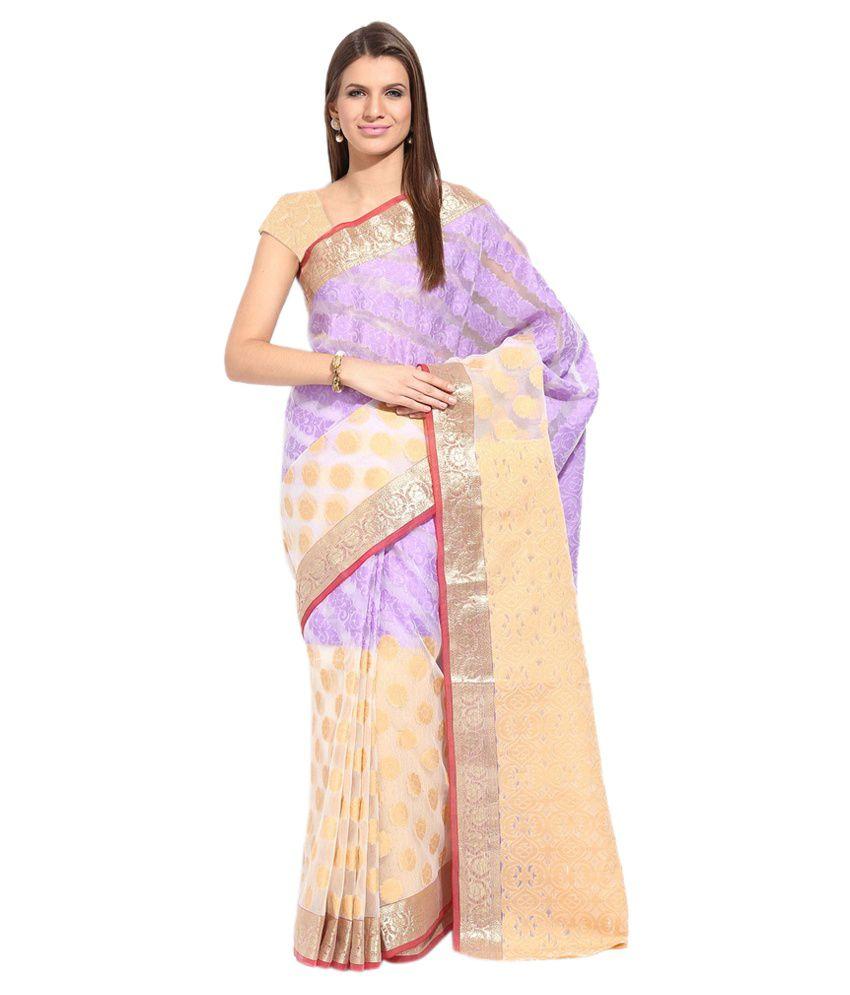 Lookslady Purple Silk Saree