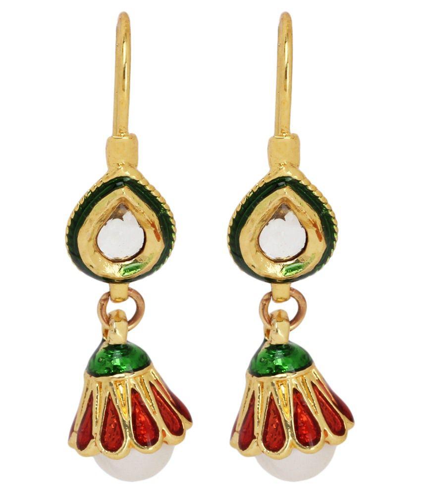 Maisha D'ziner Jewellery Orange Alloy Hanging Earrings