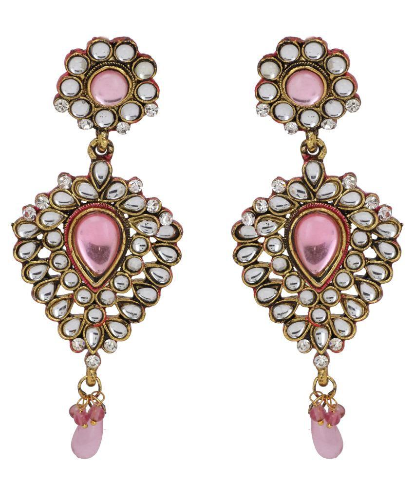 Maisha D'ziner Jewellery Pink Alloy Hanging Earrings