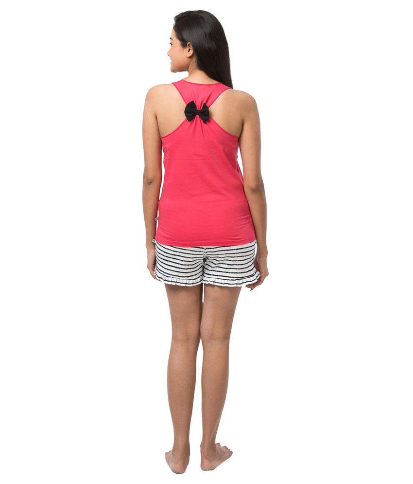 0715dd9aae6 Buy Nite Flite Pink Cotton Nightsuit Sets Pack of 2 Online at Best ...