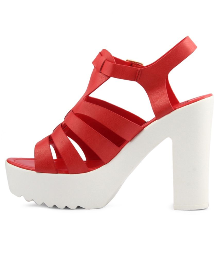 Wellworth Red Block Heels Price in India- Buy Wellworth Red Block ...