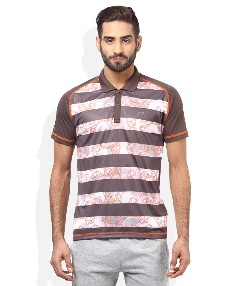 Proline Brown Striped Polo T Shirt